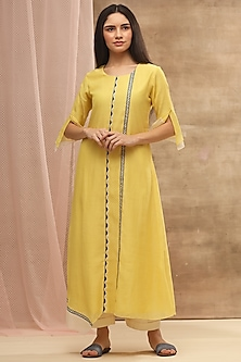 Lemon Yellow Asymmetric Embroidered Dress by Vaayu