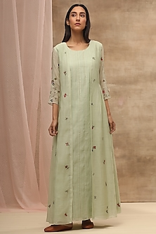 Mint Green Embroidered Jacket by Vaayu