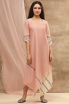 Blush Pink Asymmetric Embroidered Dress by Vaayu