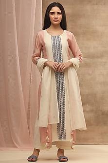 Blush Pink Embroidered & Handwoven Kurta With Dupatta by Vaayu