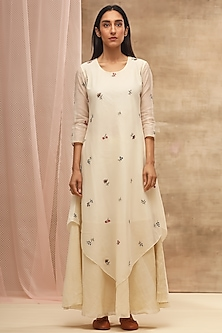Ivory Handwoven & Embroidered Dress by Vaayu