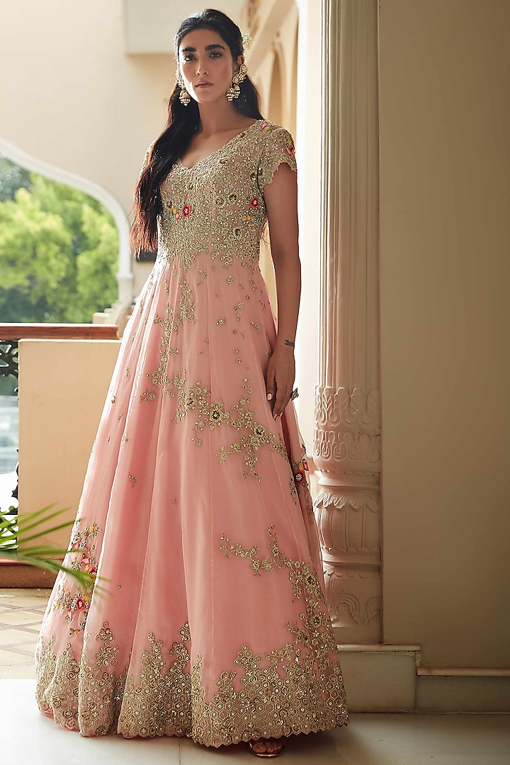 Rose Pink Hand Embroidered Gown by OSAA By Adarsh