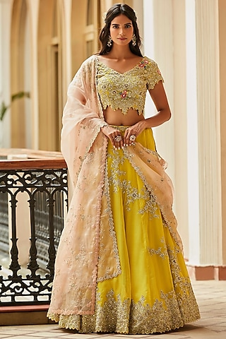 Amber Hand Embroidered Lehenga Set by OSAA By Adarsh