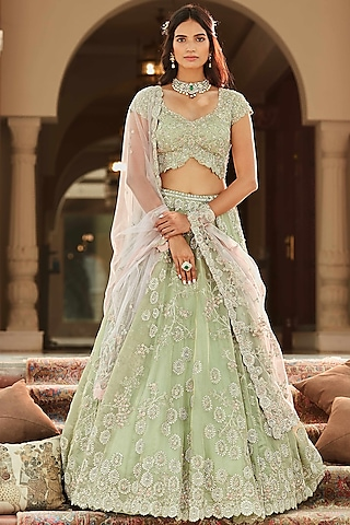 Frost Blue Hand Embroidered Lehenga Set by OSAA By Adarsh