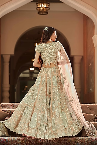 Sepia Rose Hand Embroidered Lehenga Set by OSAA By Adarsh