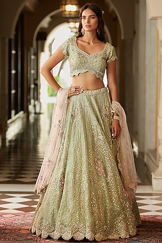 Frost Blue Zardosi Hand Embroidered Lehenga Set by OSAA By Adarsh