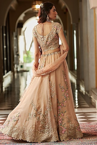Sepia Rose Floral Hand Embroidered Lehenga Set by OSAA By Adarsh
