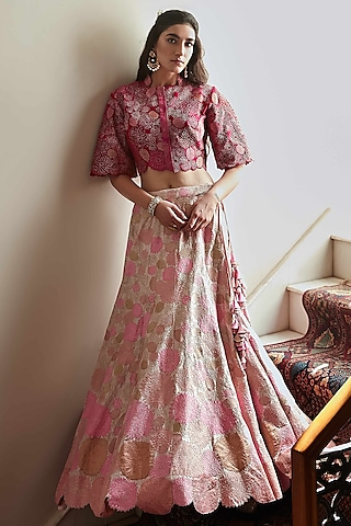 Blush Pink Hand Embroidered Lehenga Set by OSAA By Adarsh