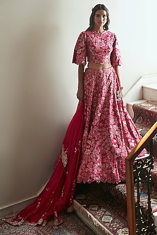 Scarlet Hand Embroidered Lehenga Set by OSAA By Adarsh