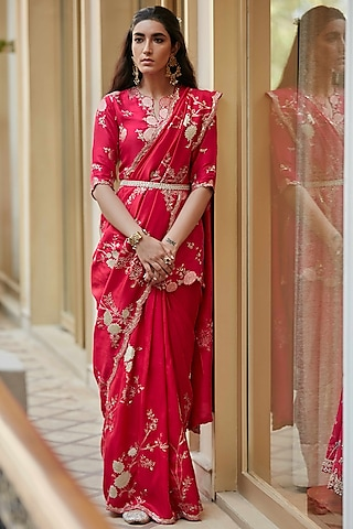 Scarlet Zardosi Hand Embroidered Saree Set by OSAA By Adarsh