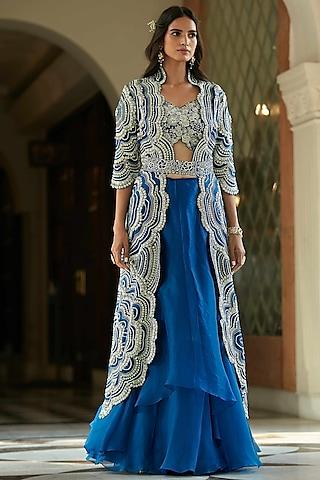 Jade Blue Hand Embroidered Lehenga Set by OSAA By Adarsh