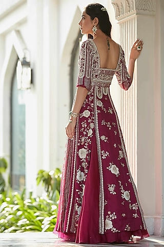 Plum Hand Embroidered Gown by OSAA By Adarsh