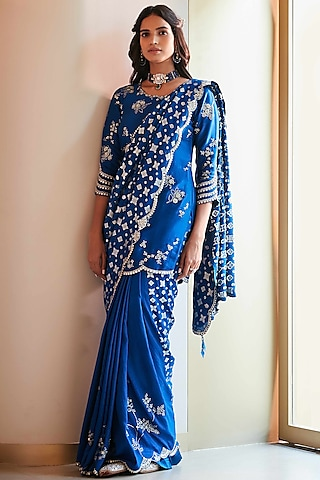 Jade Blue Zardosi Hand Embroidered Saree Set by OSAA By Adarsh