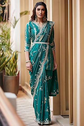Emerald Green Hand Embroidered Saree Set by Osaa - By Adarsh
