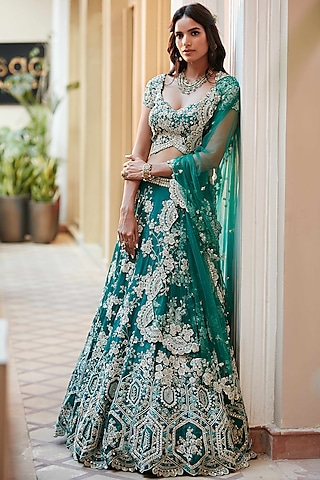 Emerald Green Hand Embroidered Lehenga Set by Osaa - By Adarsh