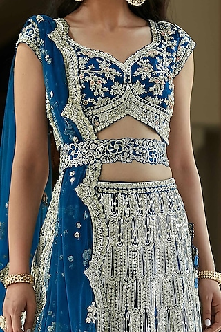 Jade Blue Hand Embroidered Lehenga Set With Belt by Osaa - By Adarsh