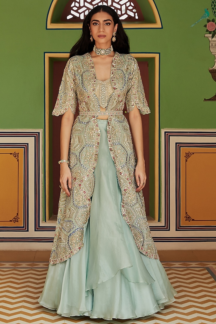 Teal Hand Embroidered Jacket Set by OSAA By Adarsh