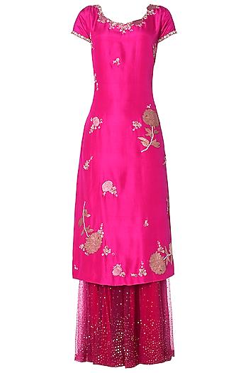 Fuschia Pink Straight Kurta with Sharara Pants Set by OSAA - By Adarsh