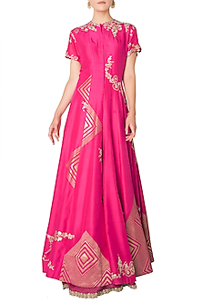 Fuschia Pink Embroidered Anarkali Jacket with Lehenga Skirt by OSAA - By Adarsh