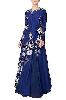 Midnight Blue Handloom Embroidered Pleated Anarkali Gown by OSAA - By Adarsh