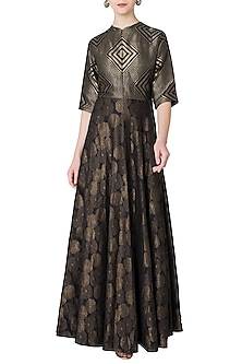 Black Handloom Woven Anarkali Gown by OSAA - By Adarsh