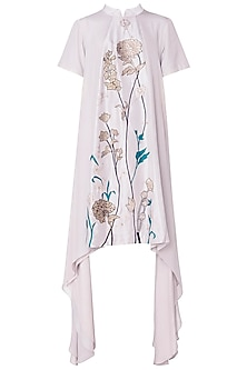 Oyster Embroidered Asymmetrical Dress by OSAA - By Adarsh