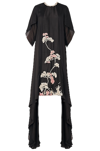 Black Asymmetrical Zardozi Embroidered Dress by OSAA - By Adarsh