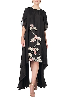 Black Asymmetrical Zardozi Embroidered Dress by OSAA - By Adarsh