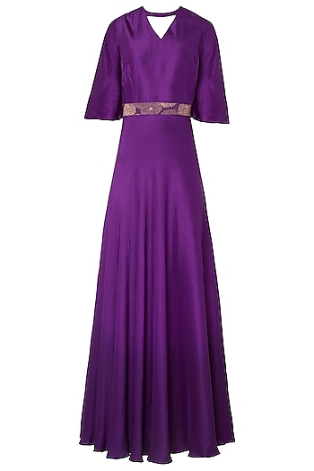 Purple Ombre Gown with Embroidered Woven Belt by OSAA - By Adarsh
