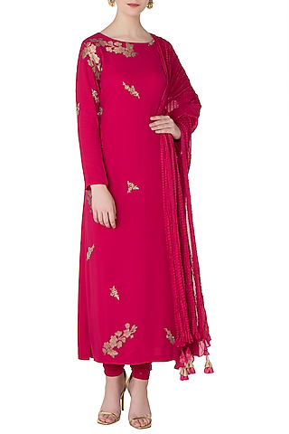 Tomato Red Embroidered Kurta with Churidar Pants by OSAA By Adarsh