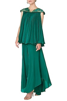 Emerald Green Pleated Embroidered Top with Drape Asymmetrical Skirt by OSAA - By Adarsh
