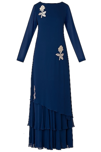 Midnight Blue Embroidered Layered Anarkali Gown by OSAA - By Adarsh