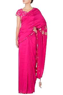 Hot Pink Embroidered Saree with Embroidered Blouse by OSAA - By Adarsh