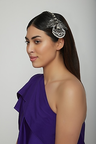 Gunmetal Finish Pearl Headpiece by Outhouse