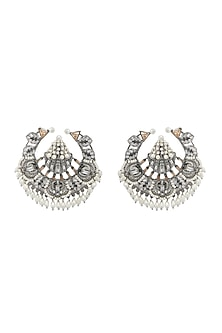 Gunmetal Finish Freshwater Pearls Earrings by Outhouse
