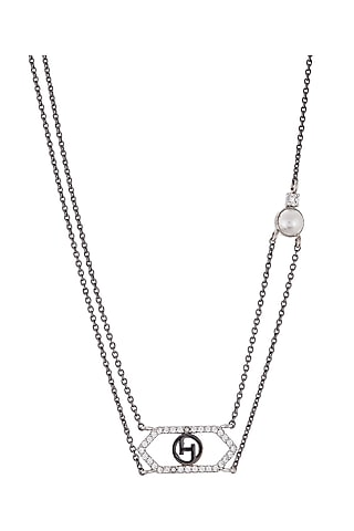 Silver Plated Crystal Pendant Necklace by Outhouse