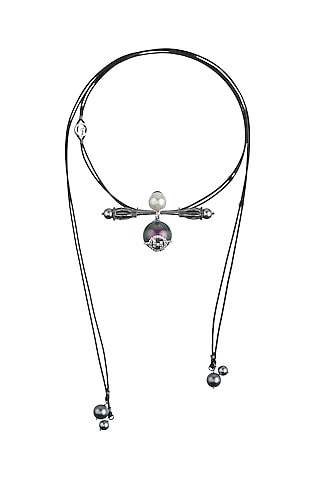 Gunmetal Plated Swarovski Hair Tie by Outhouse