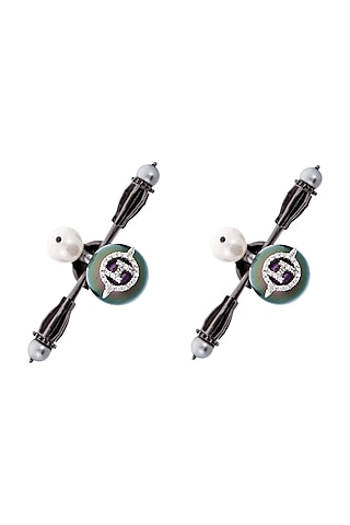Gunmetal Plated Crystal Cufflinks by Outhouse
