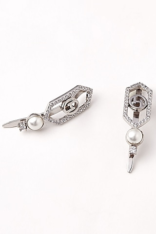 Silver Plated Crystal Hair Clips by Outhouse