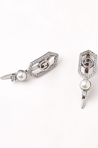 Silver Plated Swarovski Crystal Tie Clips by Outhouse