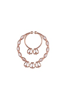Matte Rose Gold Plated Zirconia Stone Nose Pin by Outhouse