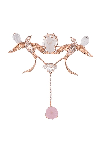 Matte Rose Gold Plated Swarovski & Ruby Red Stone Collar Pin by Outhouse
