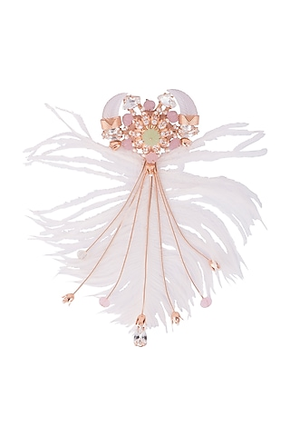 Matte Rose Gold Plated Swarovski Crystal & Stone Brooch by Outhouse