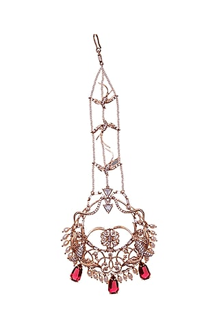 Rose Gold Plated Swarovski Pearl Maang Tikka by Outhouse