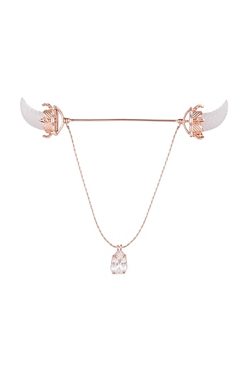 Matte Rose Gold Plated Crystal Chain Collar Pin by Outhouse