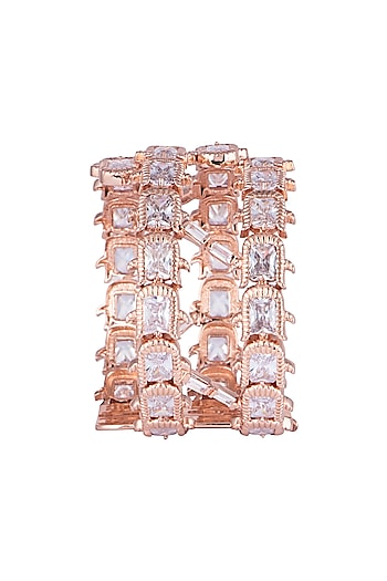 Matte Rose Gold Plated Cluster Rose Cuff by Outhouse