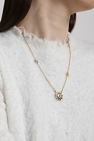 Gold Plated Evil Eye Pendant Necklace by Outhouse