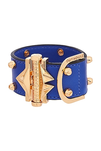 Gold Plated Leather Studded Bracelet by Outhouse