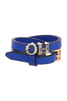 Gold Plated Leather OH Bracelet by Outhouse