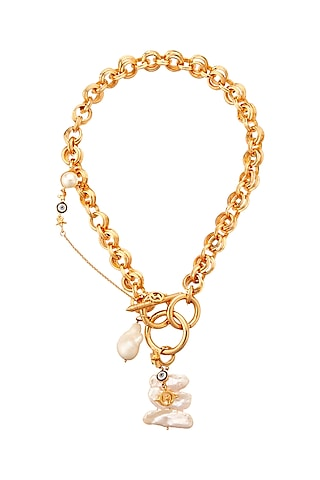 Gold Plated Pearl Necklace by Outhouse